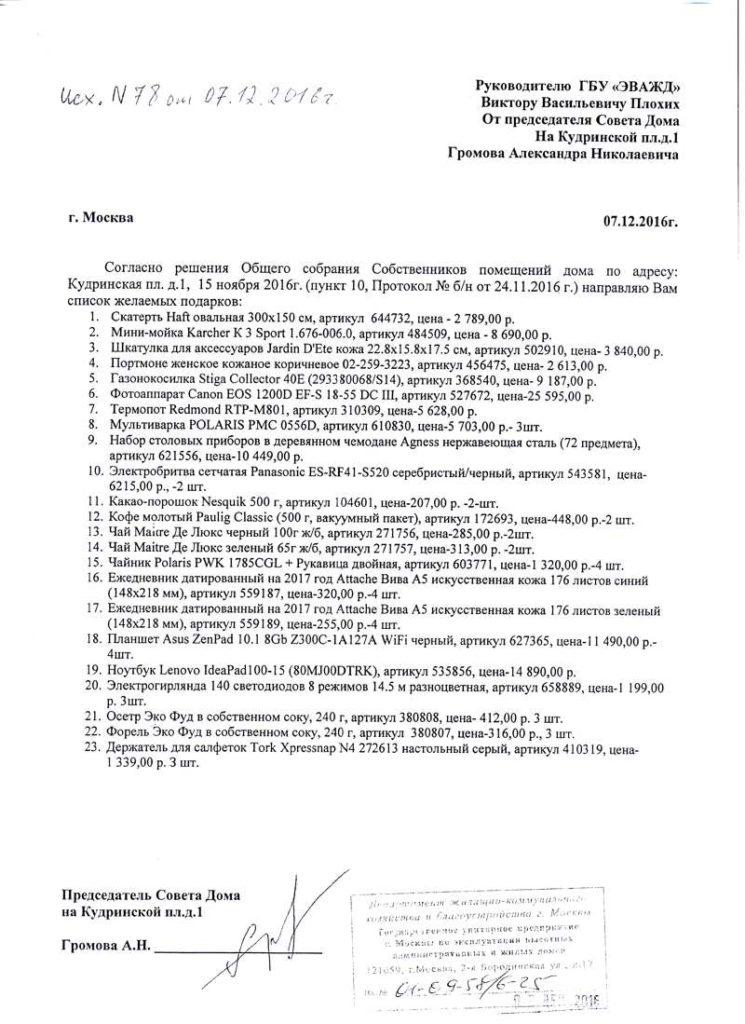 Письмо А.Громова со ссылкой на то чего не было